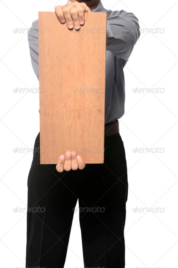Holding Wooden Board - Stock Photo - Images
