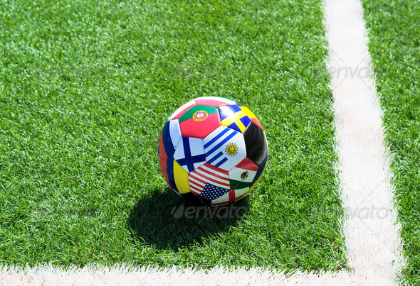 Soccer ball on field - Stock Photo - Images