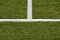 white middle line and sideline of a green football/soccer turf, forming an upside down T - PhotoDune Item for Sale