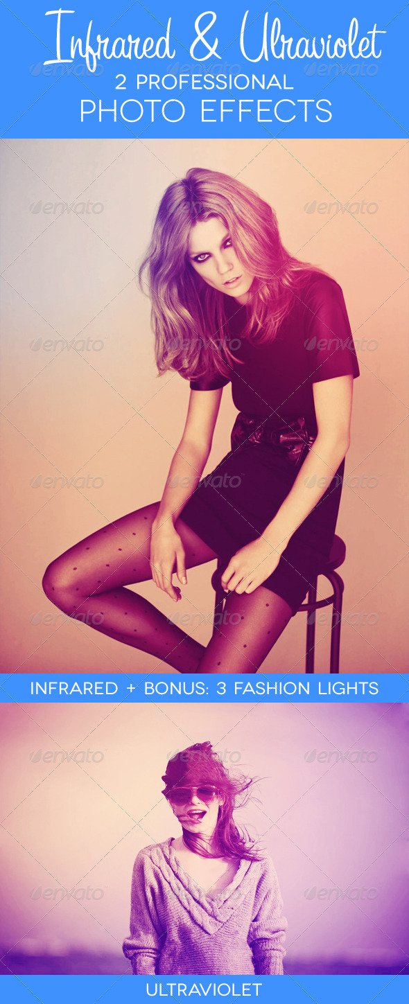 Infrared &amp; Ultraviolet - 2 Premium Photo Effects - Photo Effects Actions