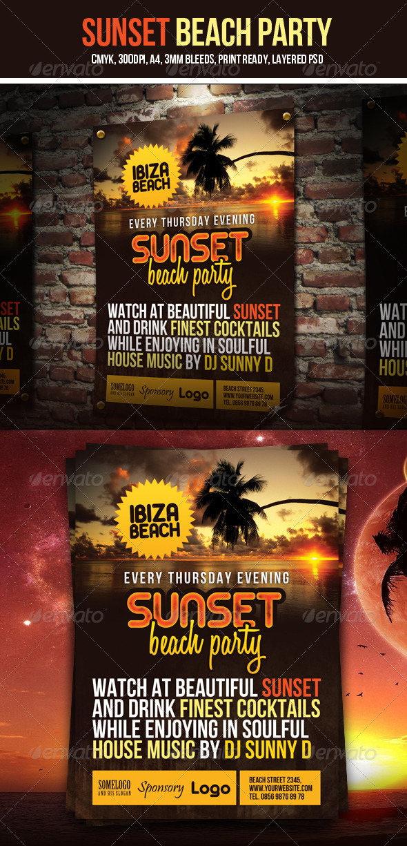 GraphicRiver Sunset Beach Party Flyer 2714097