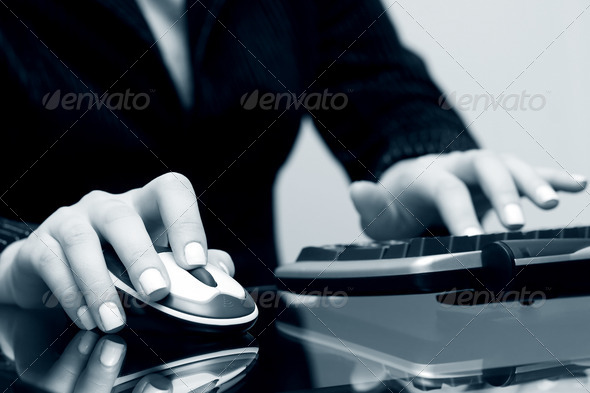 Female Hands Using Computer - Stock Photo - Images
