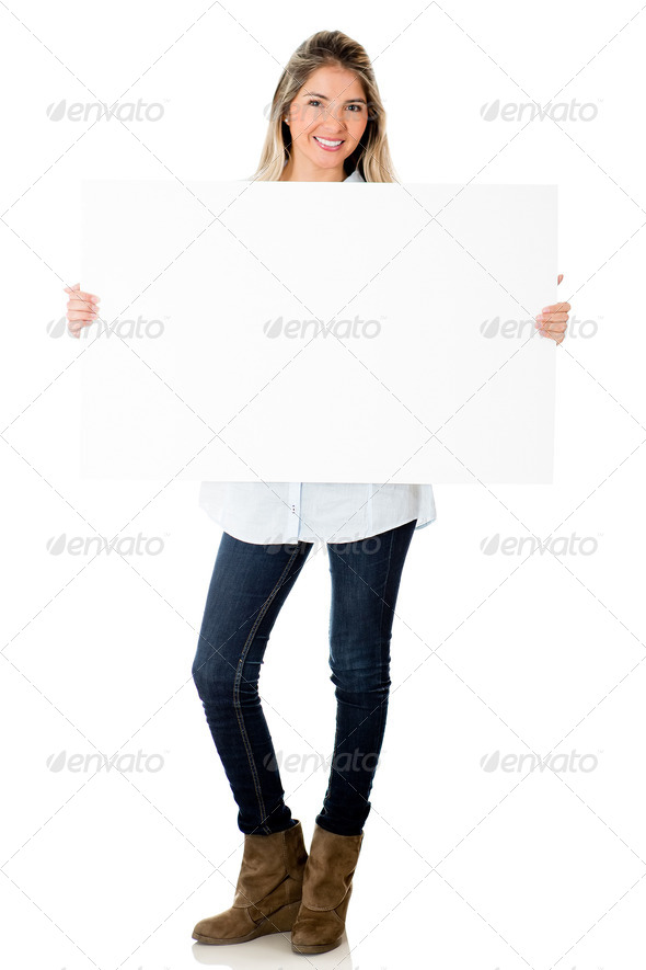 Woman holding banner - Stock Photo - Images