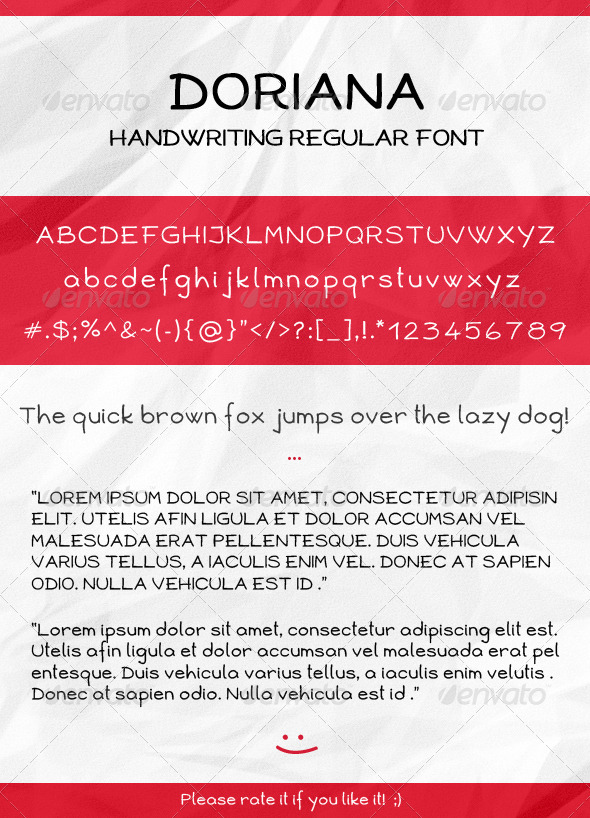 Doriana Handwriting Regular Font - Hand-writing Script