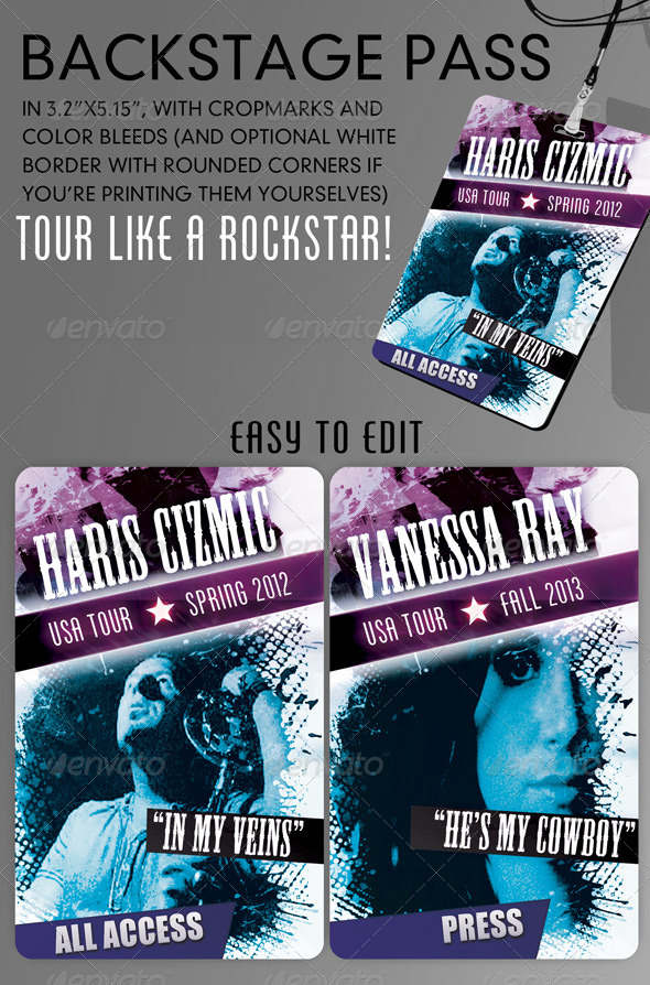 Cool backstage pass template version 2.0 - Miscellaneous Print Templates