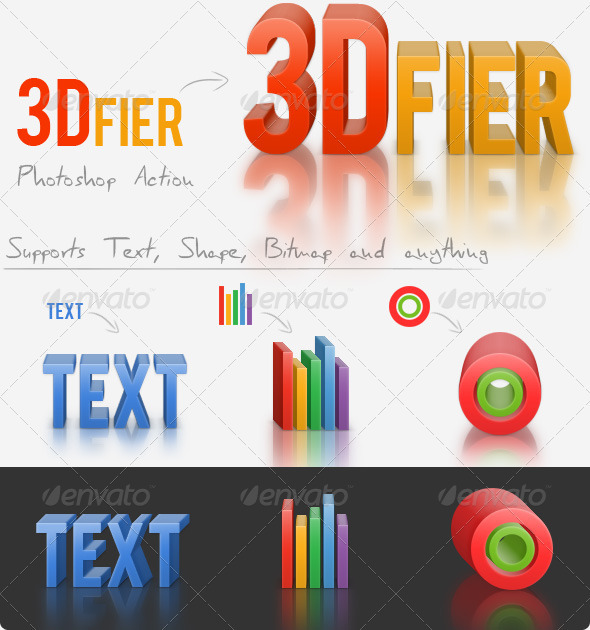 3Dfier  Solid Maker Action with 3D Reflection - Actions Photoshop