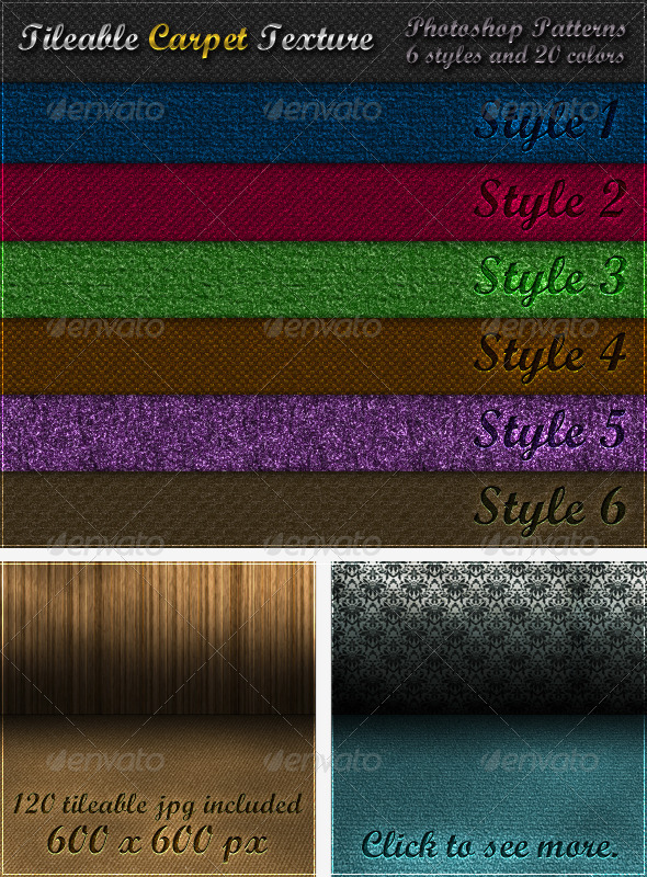 6 Tileable Carpet Textures - Photoshop Patterns - Textures / Fills / Patterns Photoshop