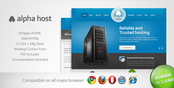 ThemeForest Alpha Modern Hosting Template 2717322