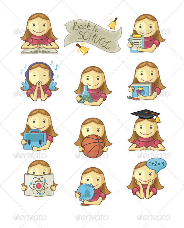 School Girl Icons - Characters Vectors