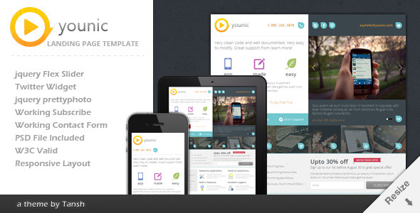ThemeForest Younic Responsive Landing Page 2720321