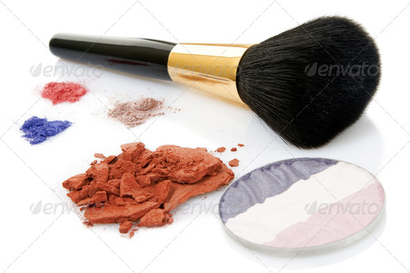 Make-up brush and different powder - Stock Photo - Images