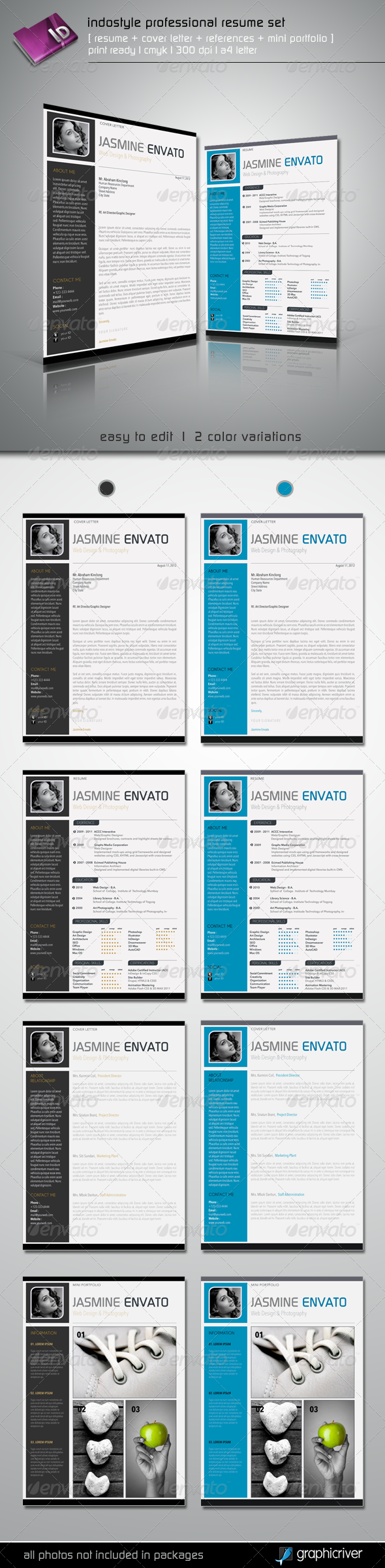 GraphicRiver Indostyle Professional Resume Set 2723242
