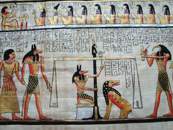Egyptian papyrus with antique hieroglyphs  - Stock Photo - Images