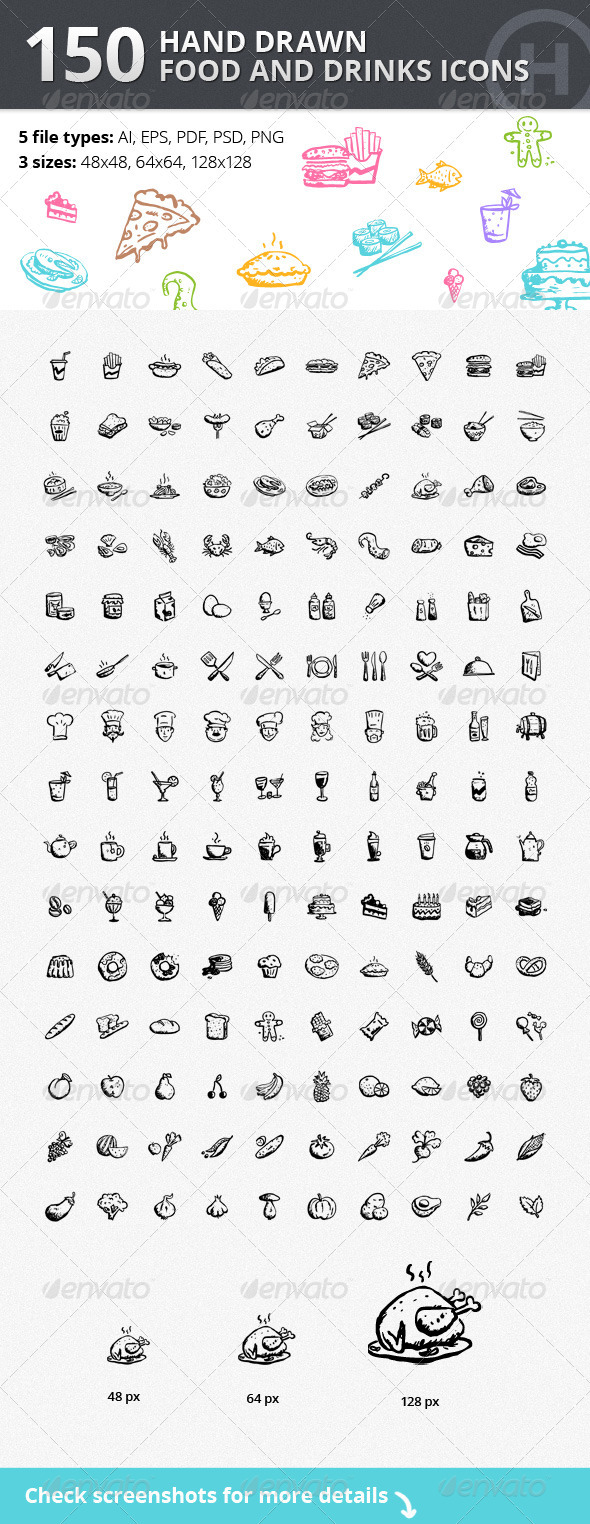 GraphicRiver 150 Hand-drawn Food and Drinks Icons
