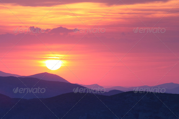 Summer landscape in mountains with the sun - Stock Photo - Images