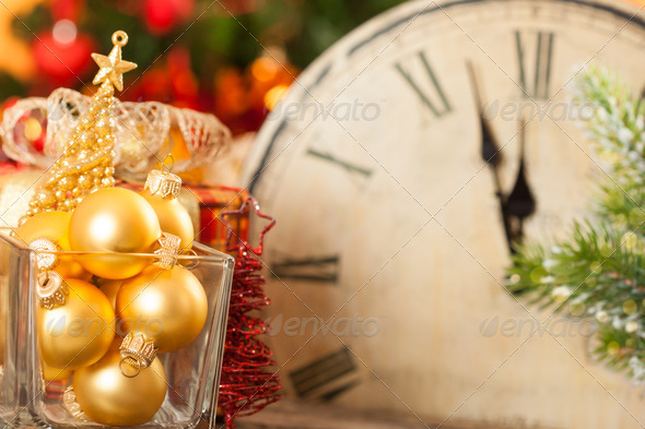Golden Christmas balls - Stock Photo - Images