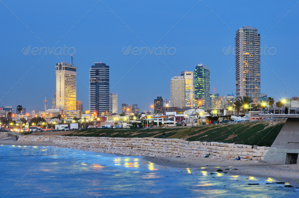 Tel Aviv Mediterranean Skyline - Stock Photo - Images