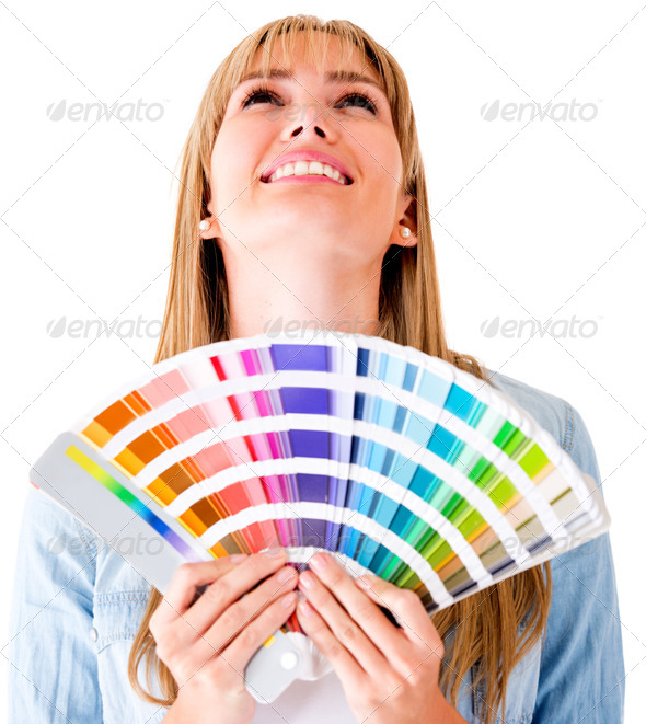Woman with a color guide - Stock Photo - Images