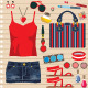 Fashion set with jeans skirt - GraphicRiver Item for Sale