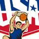 Basketball Player Dunking Ball USA  - GraphicRiver Item for Sale