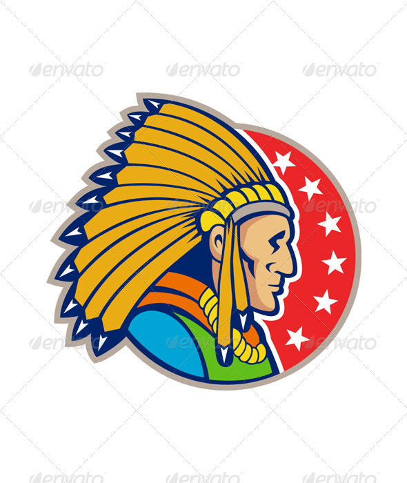 Native American Indian Headgear Side  - Sports/Activity Conceptual