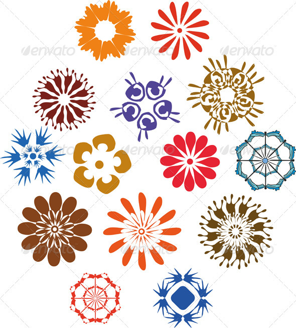 Flowers Sing Set - Decorative Vectors