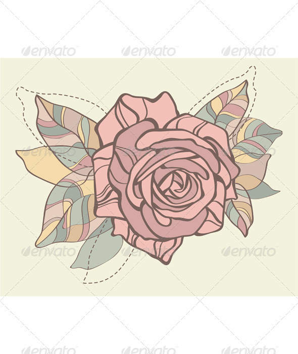 Retro card with vector stylized rose  - Decorative Symbols Decorative