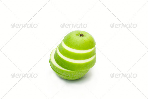 fresh green apple  slice isolated on white - Stock Photo - Images