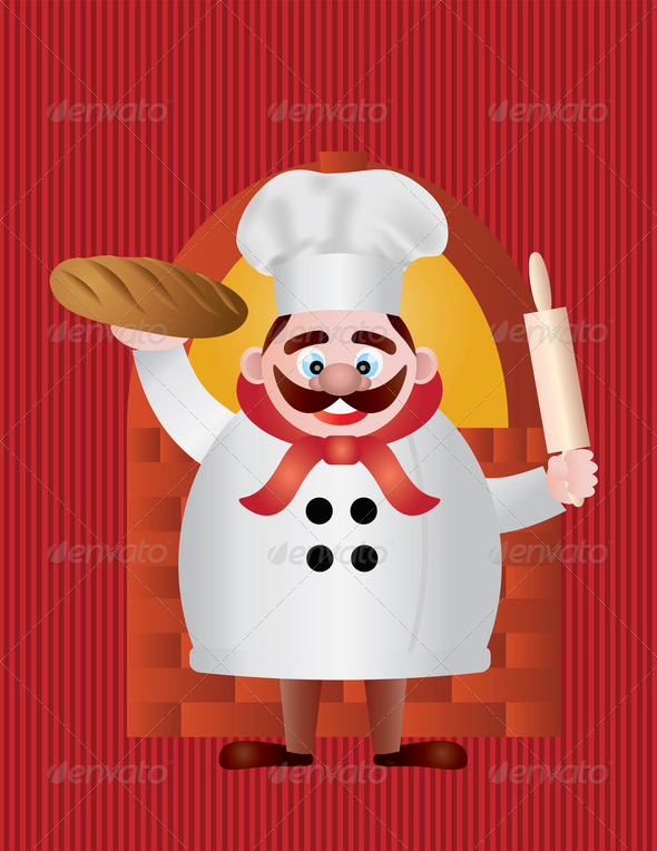 Baker with Bread and Rolling Pin Illustration - Stock Photo - Images