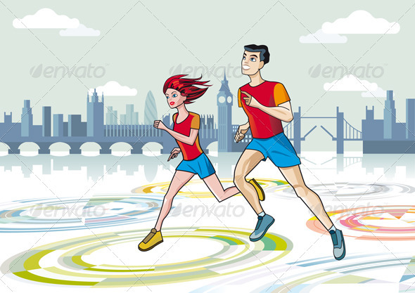 Marathon Runners - Sports/Activity Conceptual