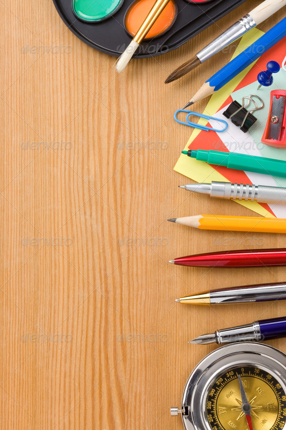 back to school and supplies on wood - Stock Photo - Images