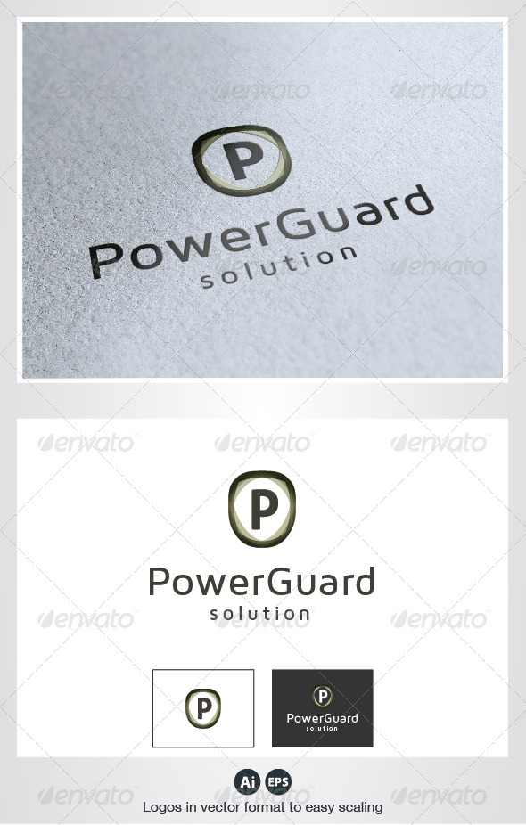 Power Guard P Letter Logo - Letters Logo Templates