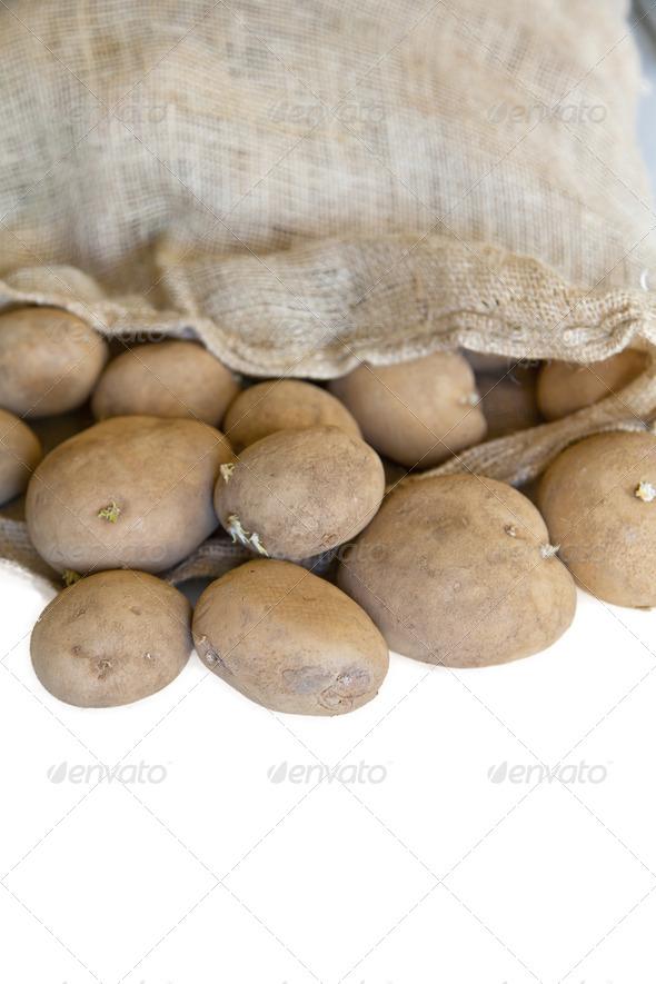 Sack of potatoes - Stock Photo - Images