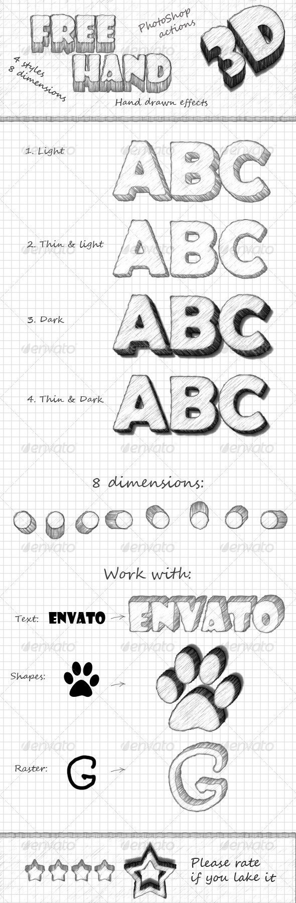 GraphicRiver FreeHand 3D Photoshop actions 2738914