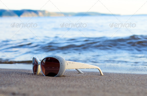 Glasses on beach - Stock Photo - Images