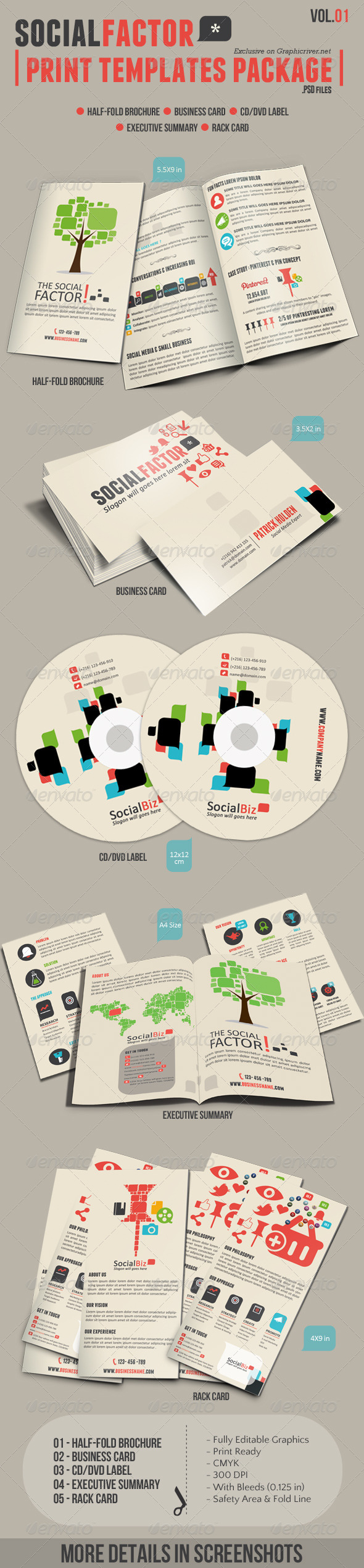 SocialFactor Print Templates Package Vol.01 - Stationery Print Templates