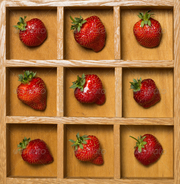 Fresh strawberries in shadow box - Stock Photo - Images