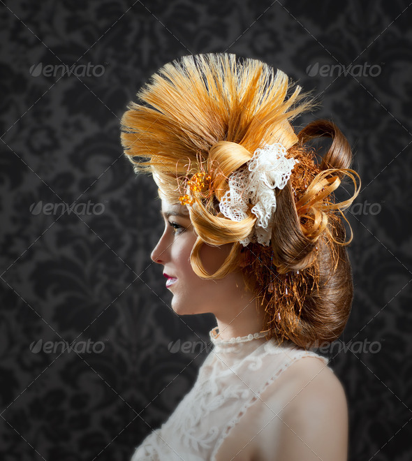Hairdressing and makeup fashion woman - Stock Photo - Images