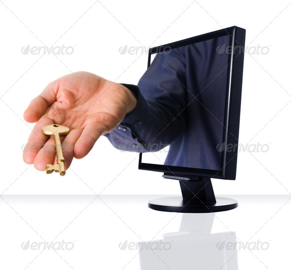 Stock Photo - PhotoDune Monitor gold key 300460
