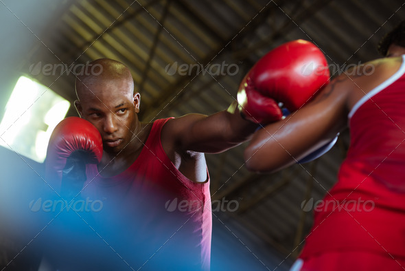 PhotoDune Two male athletes fight in boxing ring 2742848