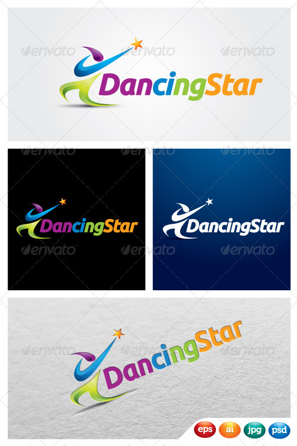 Dancing Star - Humans Logo Templates