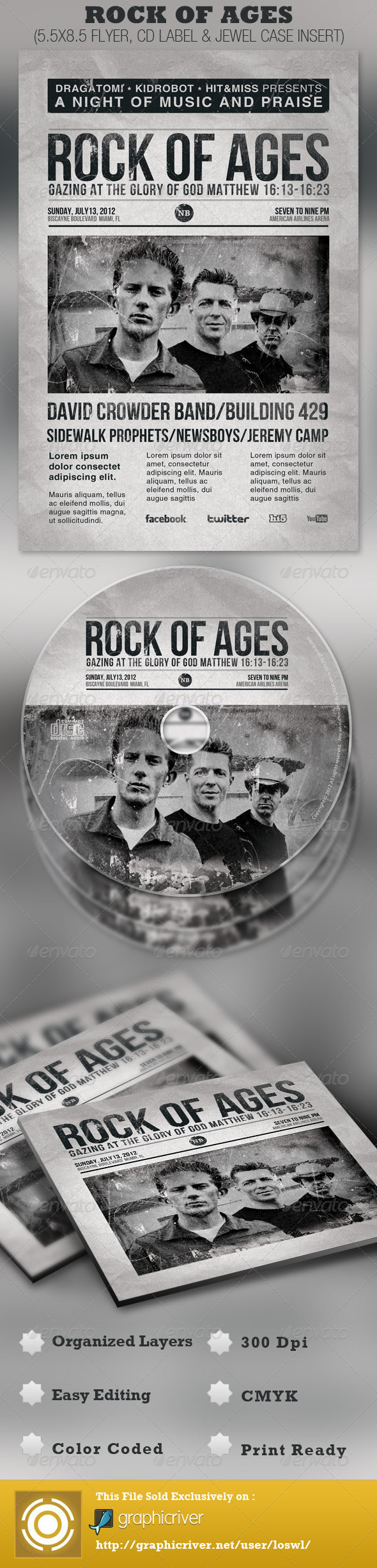 GraphicRiver Rock of Ages Church Flyer and CD Template 2434162