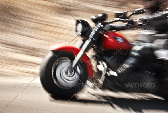 PhotoDune Abstract slow motion biker riding motorbike 2746983