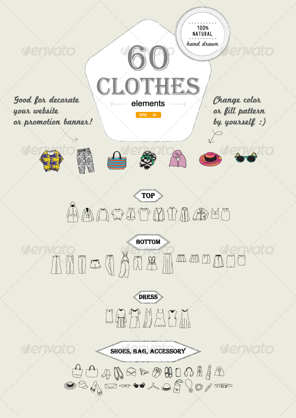 60 Hand-drawn Clothes elements  - Decorative Vectors