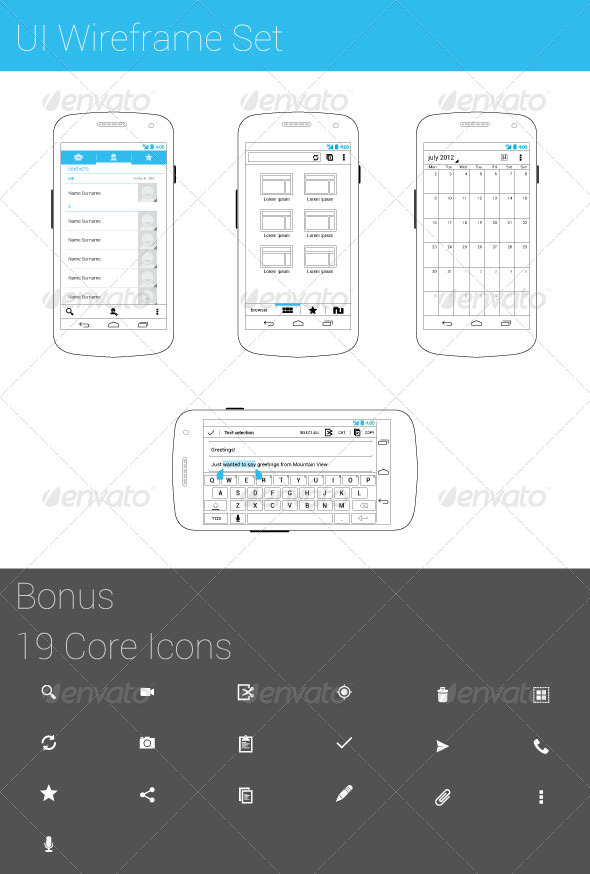 UI Wireframe Set - Miscellaneous Vectors
