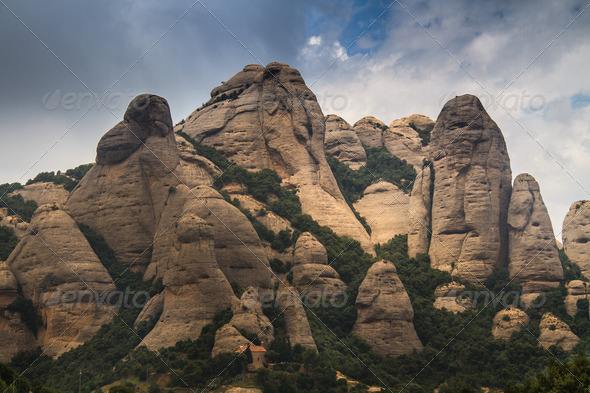 Montserrat mountains in Spain - Stock Photo - Images