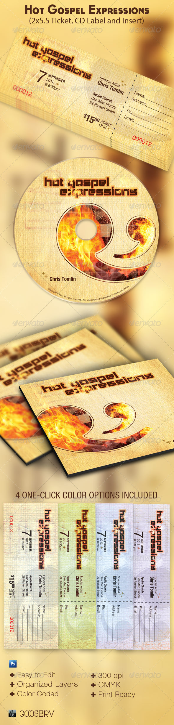 Hot Gospel Expressions Concert Ticket and CD - Miscellaneous Print Templates