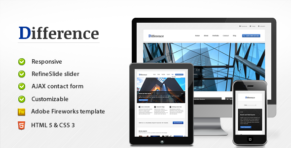 ThemeForest Difference Responsive Business Template 2741609