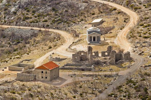 Stone church of st. Franjo on Velebit mountain - Stock Photo - Images