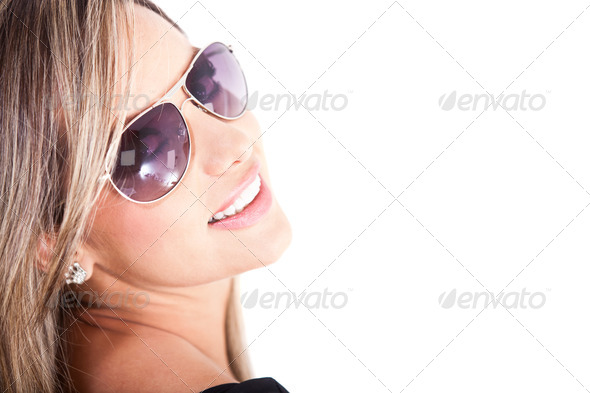 Woman wearing sunglasses - Stock Photo - Images